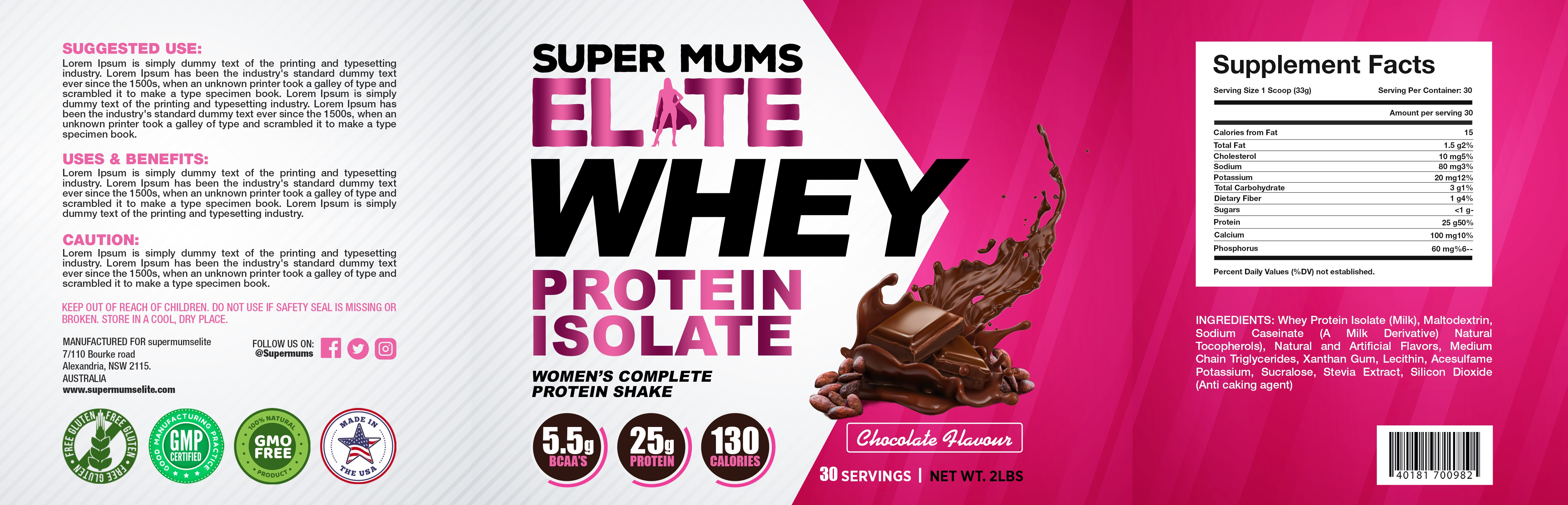 I am an online fitness coach for MOTHERS who are lacking self love - wanting a whey protein isolate tub label design!
