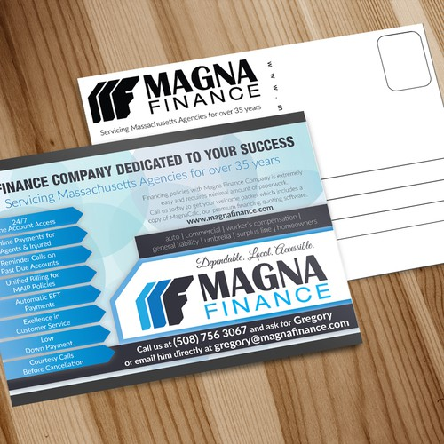 Postcard design for finance company