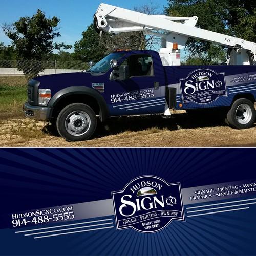 Hudson Sign Co bucket truck wrap
