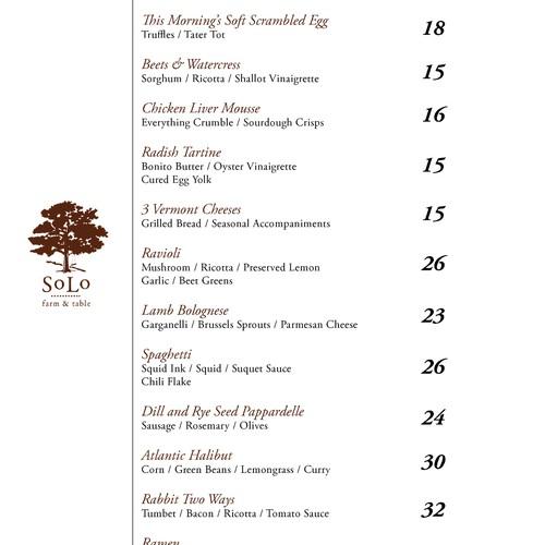 SoLo sample menu design