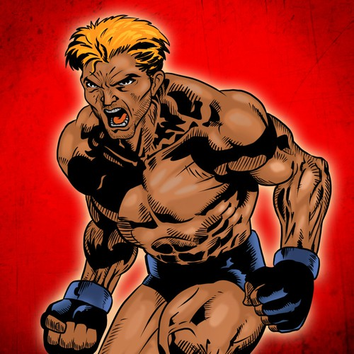MMA Fighter in a comic book art style