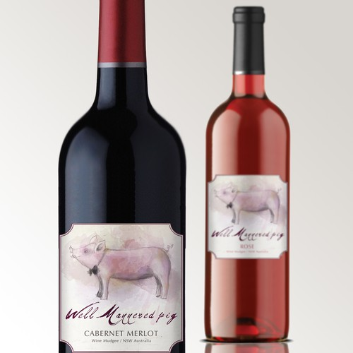 Create the next product label for Well Mannered Pig Wines