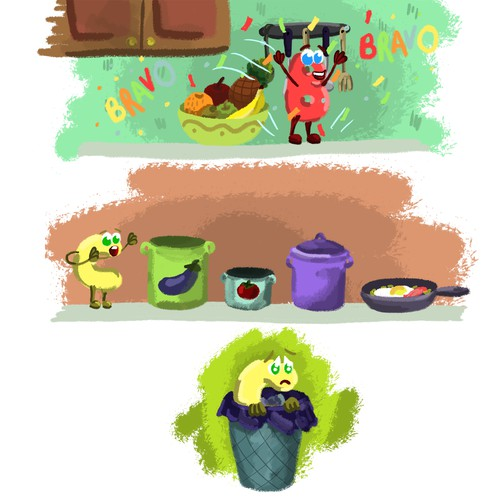 Cheerful color illustrations for children's books