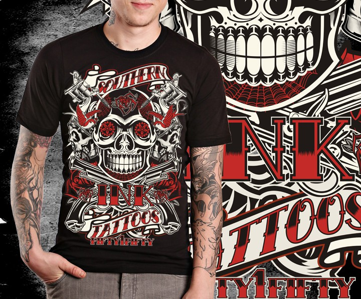 t-shirt design for Southern ink tattoos