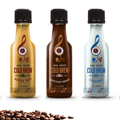 Cold brew natural coffee energy shots label