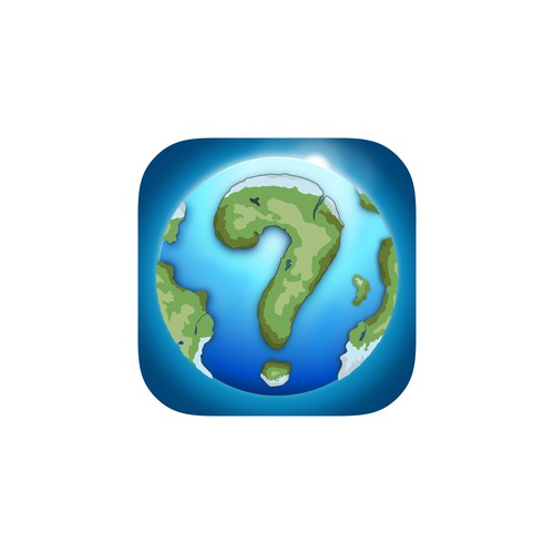 App icon for mobile game: POW (Parts of our world), a trivia quiz type of game, based on questions related to the culture of travel as well as all the themes which surround it such as geography, and tourism.