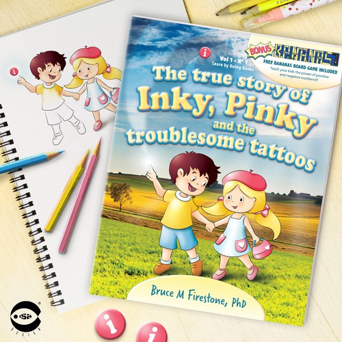 "Book cover for ""The true story of Inky, Pinky and the troublesome tattoos"" by Bruce M Firestone"
