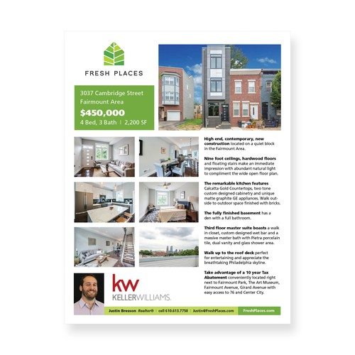 Real estate flyer featuring new property for sale