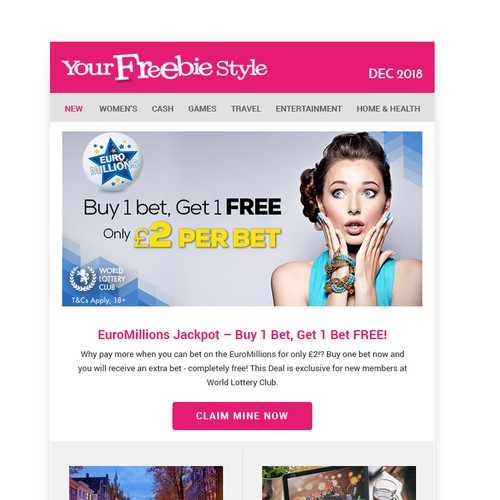 Email design for freebie website