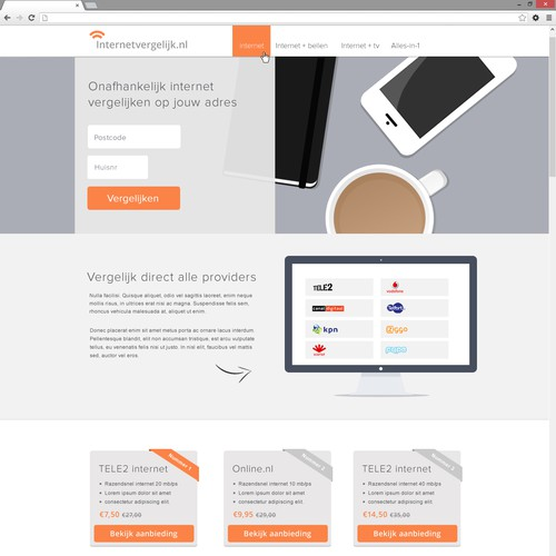 Design a clean, modern website for Internetvergelijk.nl