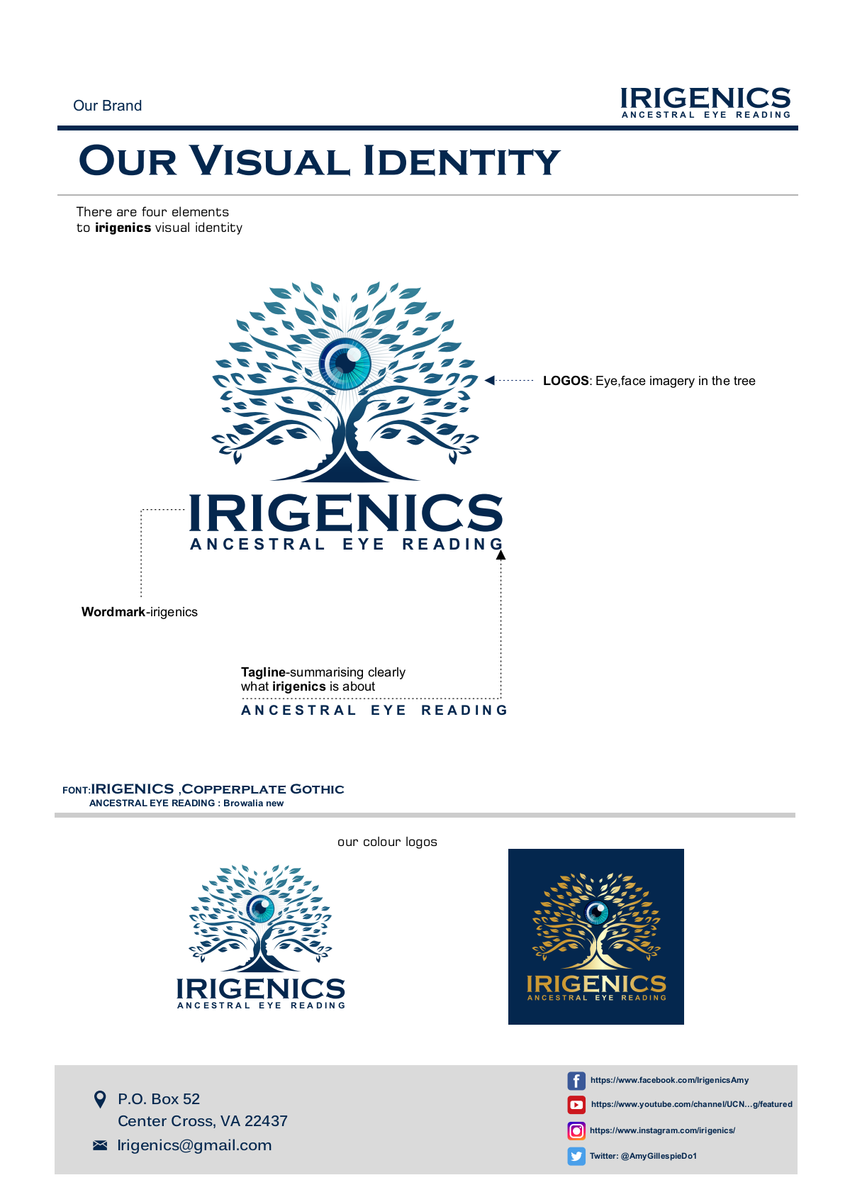 Irigenics Cont'd:  Brand Guide completion
