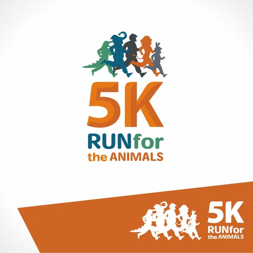 Create a fun logo for my animal costume-themed 5k running race
