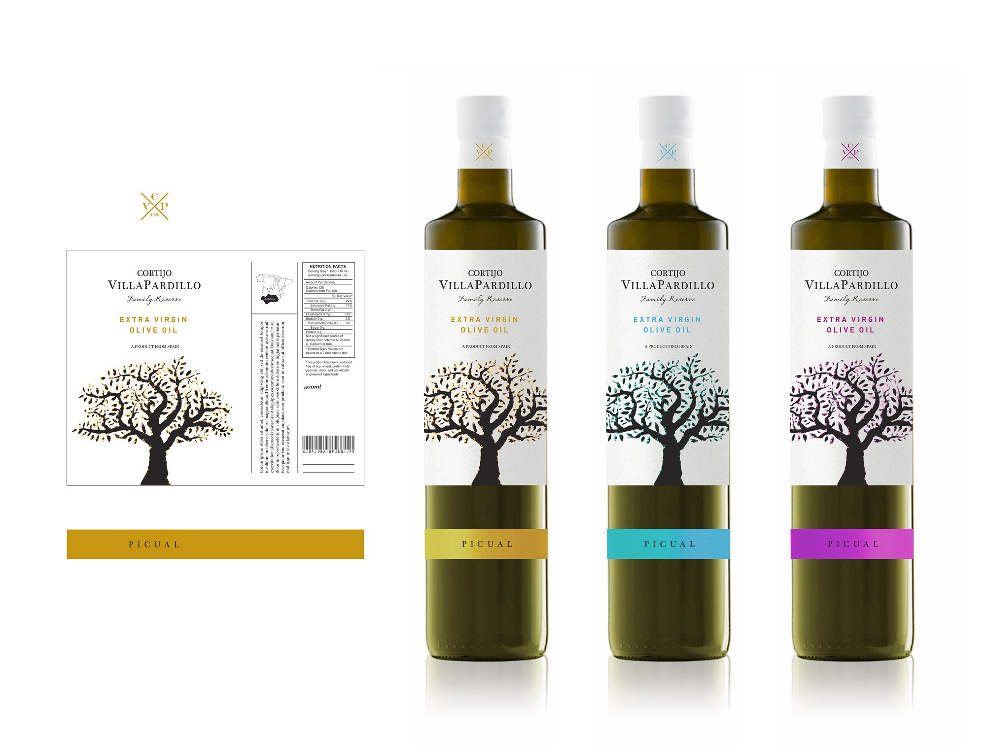 Create a high end product label for a Spanish family owned Olive oil producer.