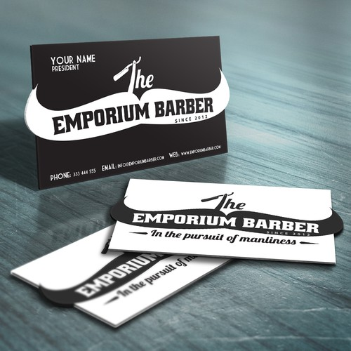 Unique business card for The Emporium Barber