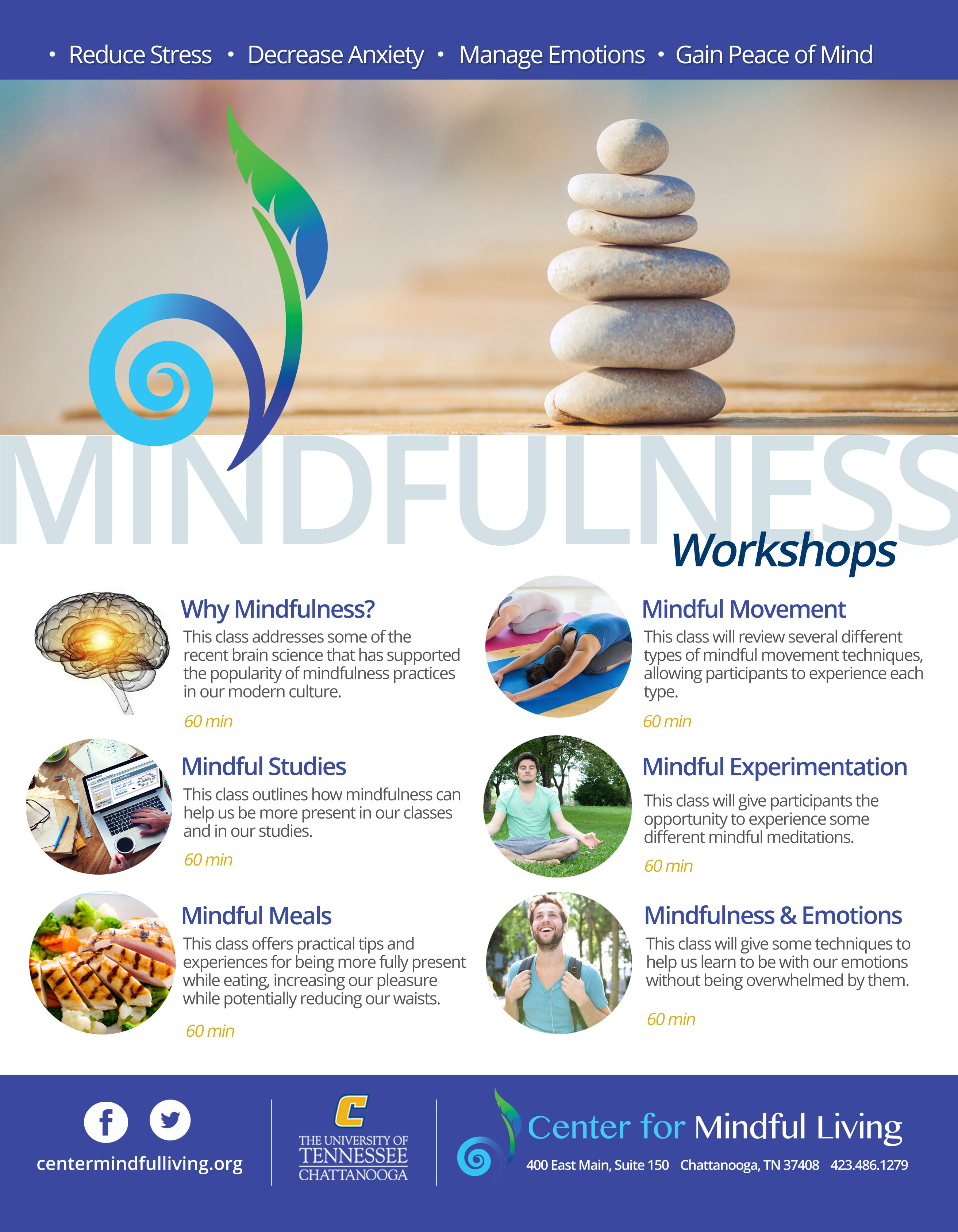 Creative flyer to help make mindfulness classes appealing to college students!