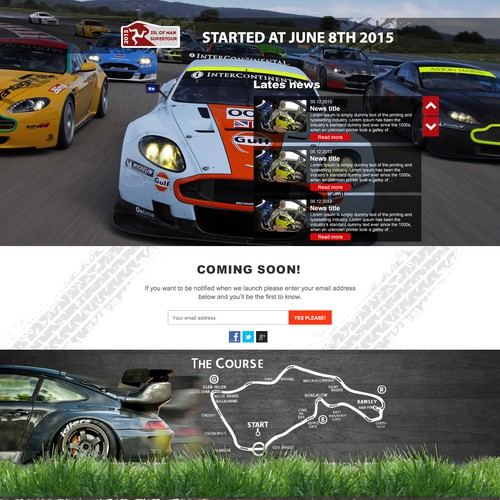 New Motor Sport event in need of a landing page to attract racers!