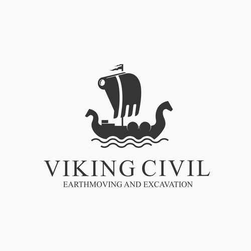 Dual meaning logo for viking and excavation company