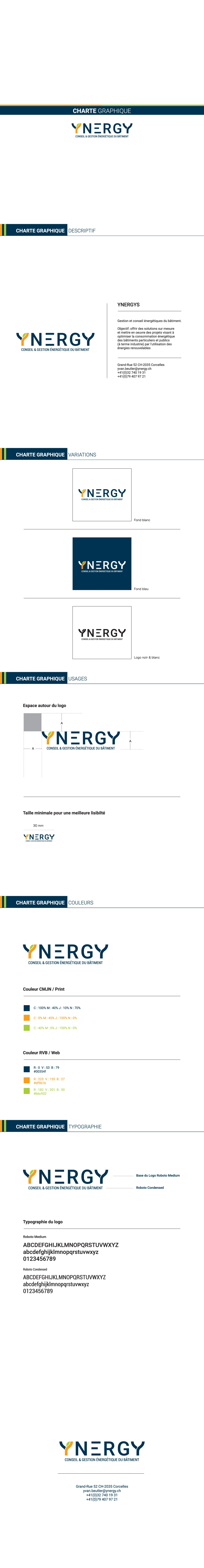 ynergy. Création d'entreprise gestion énergétique bâtiments. Logo et carte de visite.
