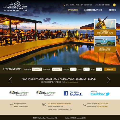 Simple, elegant website for a small caribbean hotel and restaurant