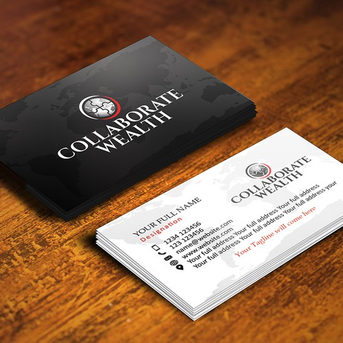 Business card for a financial investment company