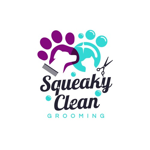 Logo design for a High-end mobile pet grooming for dogs and cats.