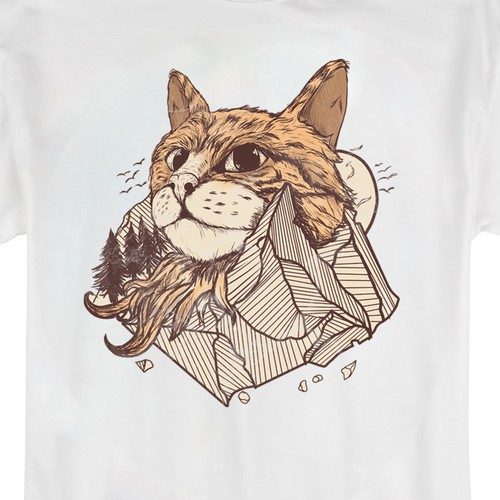 Mountain Cat tshirt illustration