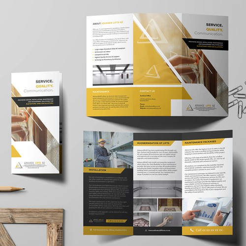 Elevator, Escalator Maintenance and Management Solution Trifold Brochure