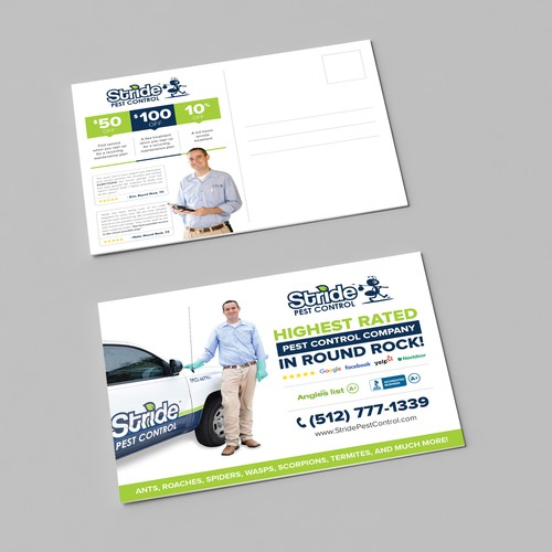 Create a clean & compelling mailer for a pest control company