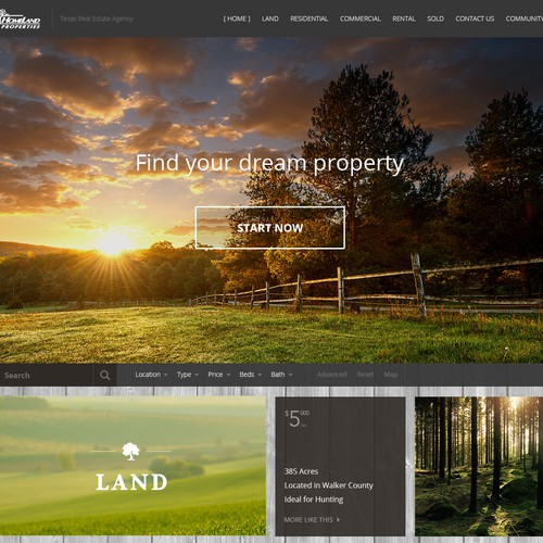 Clean & rustic landing page for real estate company