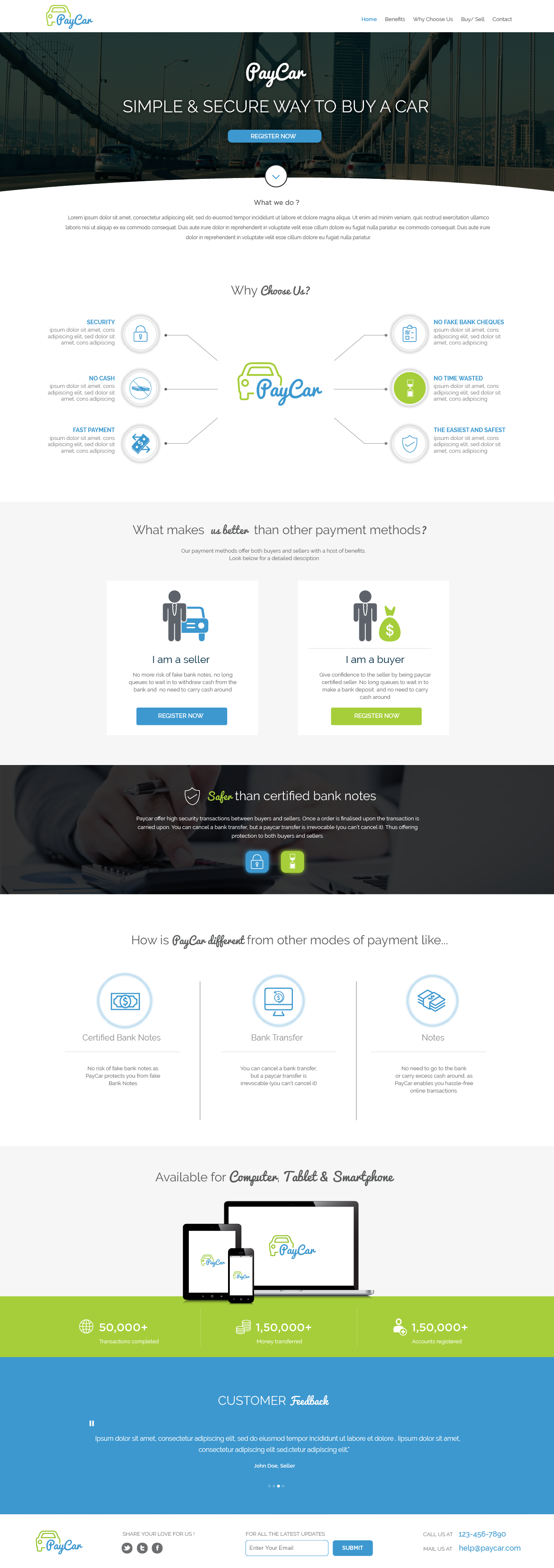 Create a Website design for a paypal competitor for used cars and motor bikes (price is guaranteed)