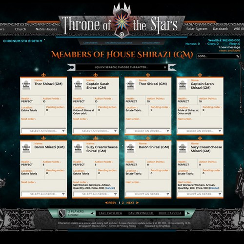 Throne of the Stars web game
