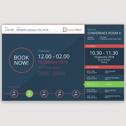 User Interface for Booking Software Visitor Tech