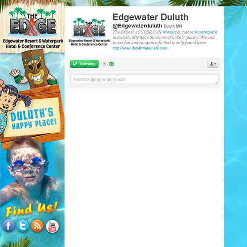 Create the next twitter background for Edgewater Resort & Waterpark Hotel & Conference Center