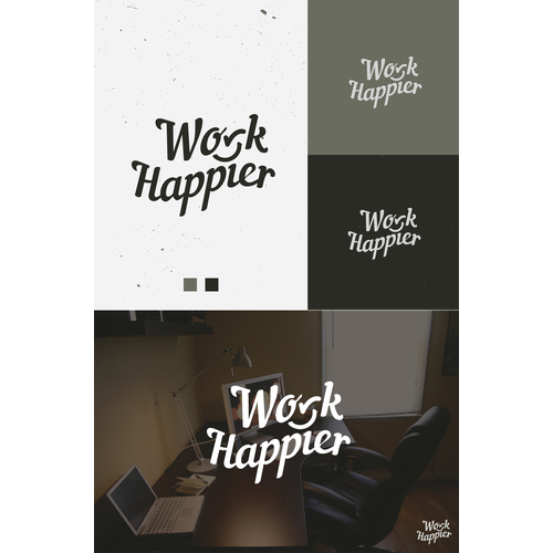 """Work Happier"" brand for a company that creates awesome workspaces."