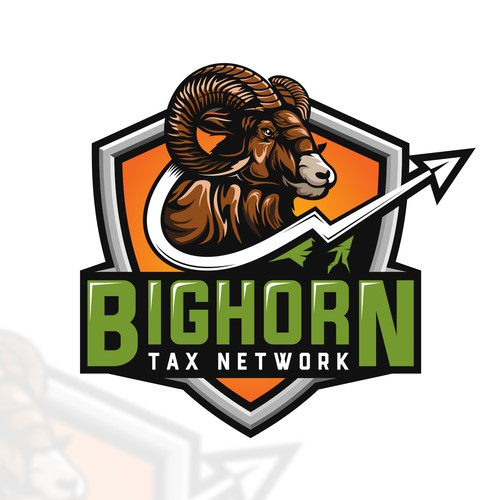 Badge logo concept for Bighorn Tax Network