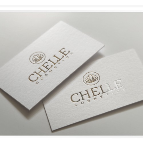 Create a stunning logo for my cosmetics brand incorporating a beautiful flowing shell.