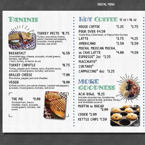 Quirky Menu for SoCal Cafe