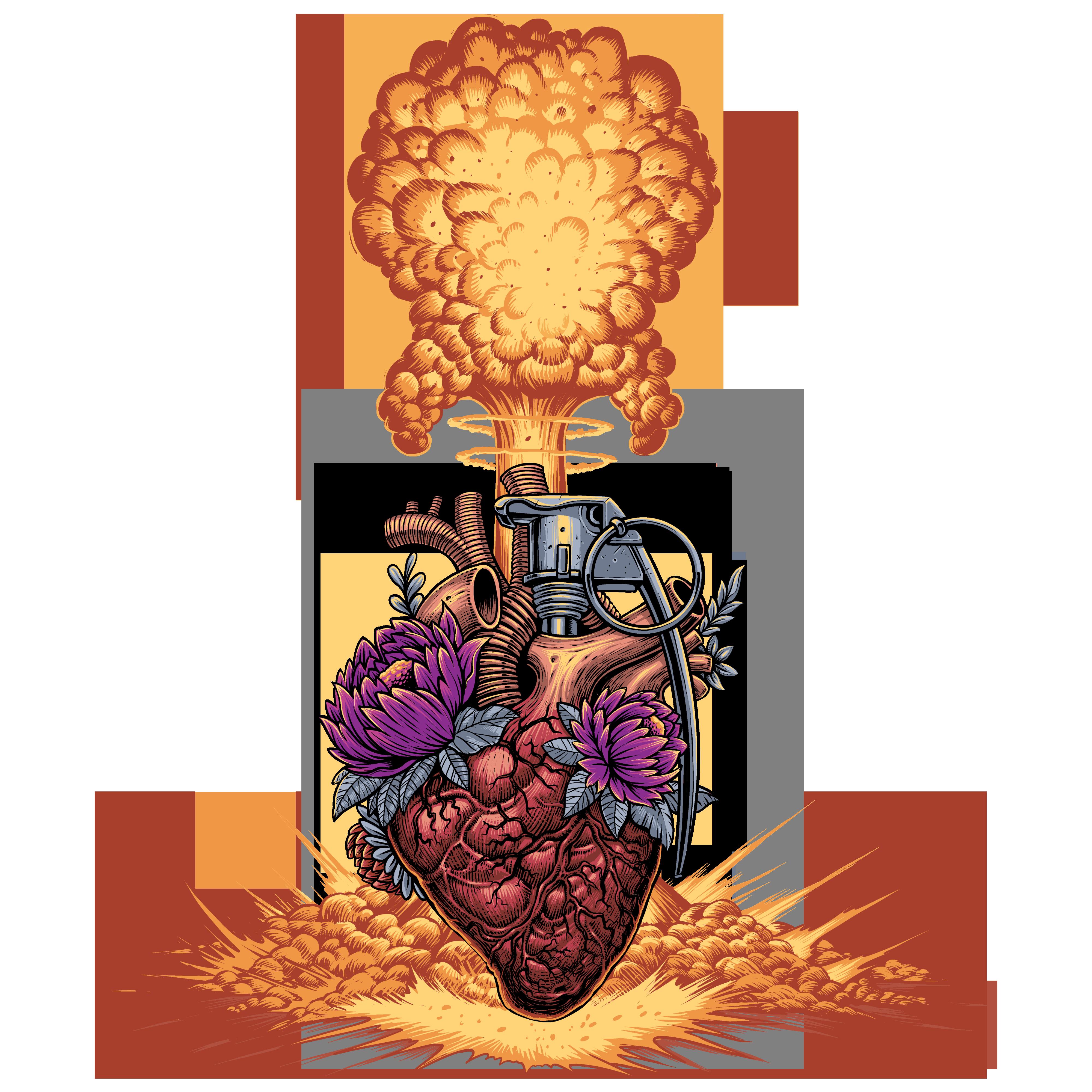 Heart grenade t-shirt design