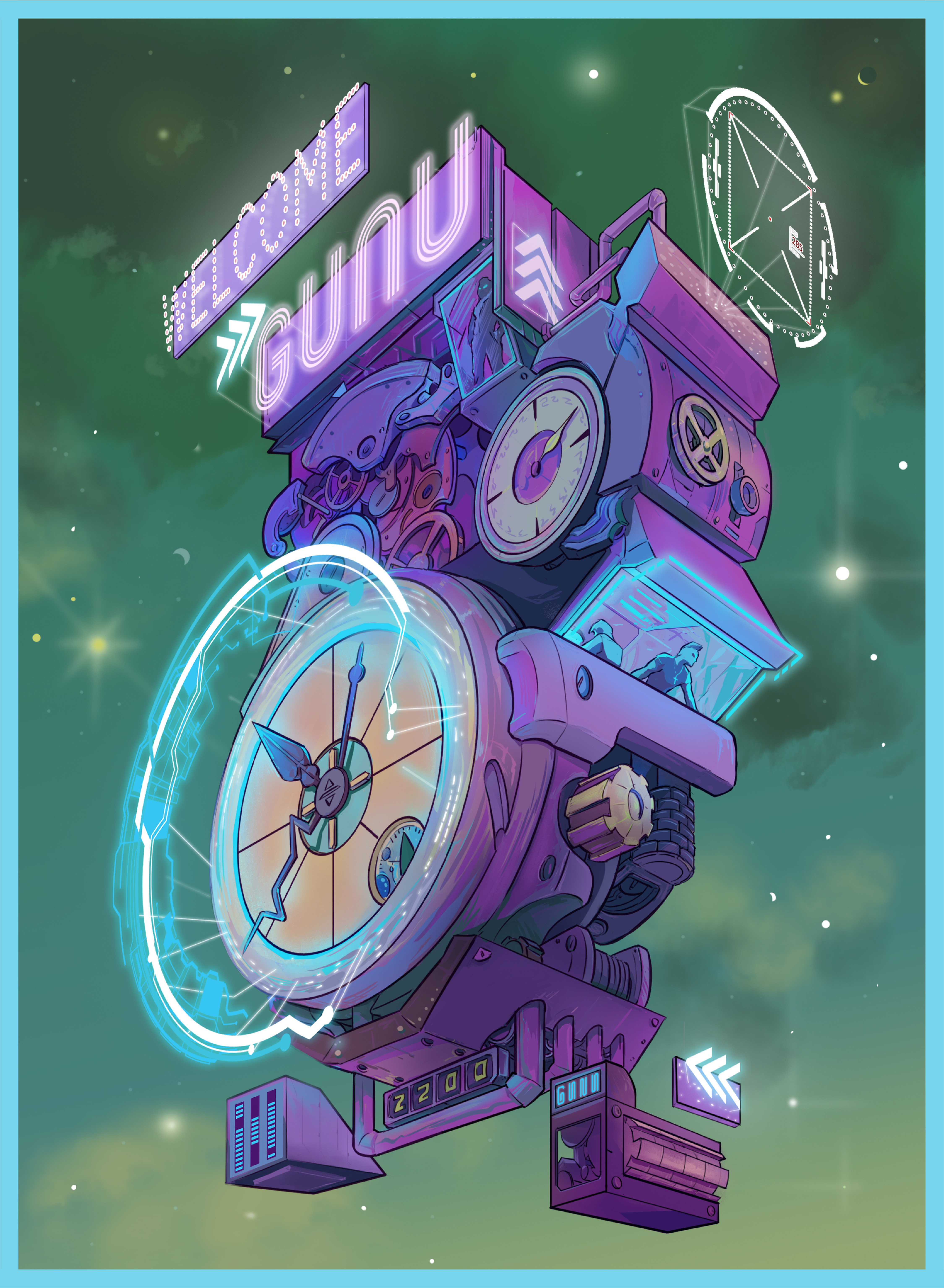 Cyberpunk illustration of watches to appeal to watch collectors.