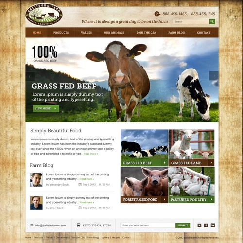 website design for Callidora Farm
