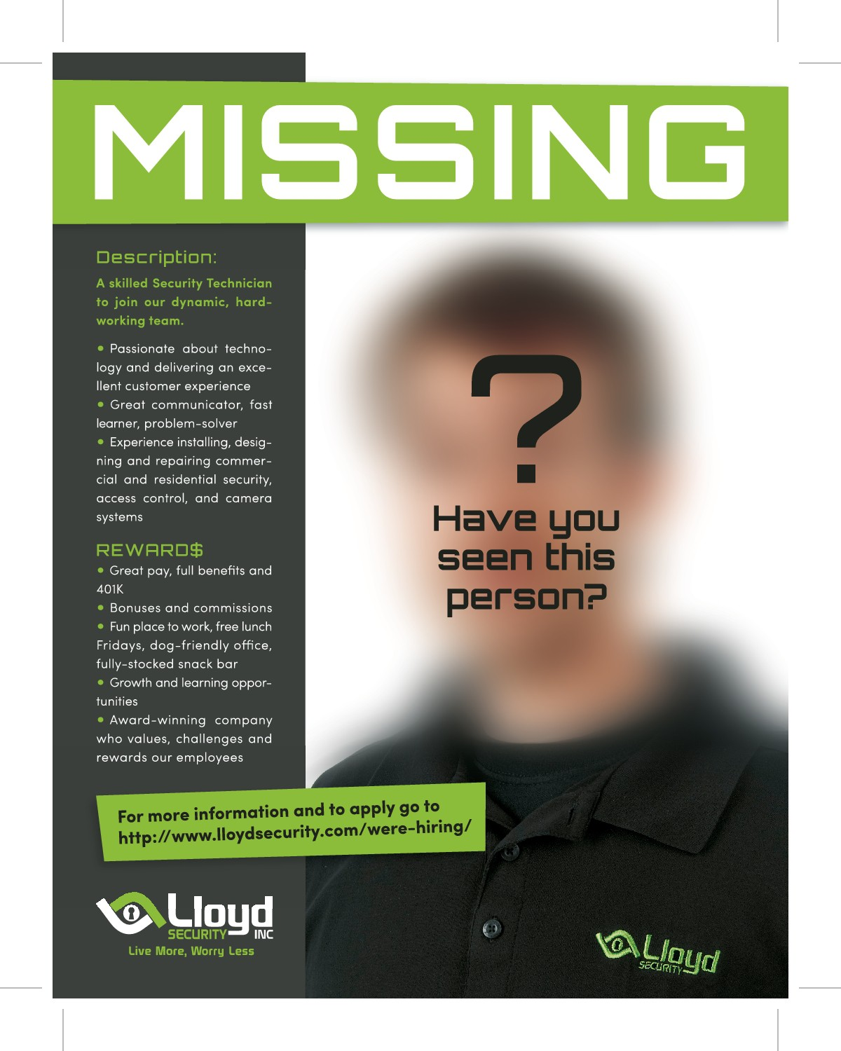 Lloyd Security Recruiting flyer and/or postcard