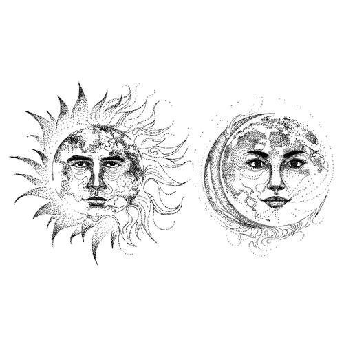 Sun and Moon Tattoo Illustration