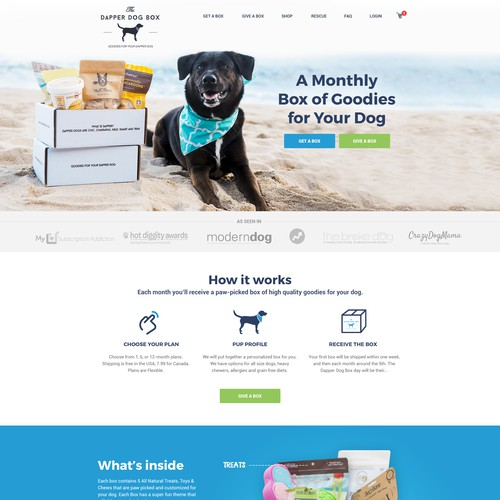 Flat & Clean Website for a Pet Subscription Company