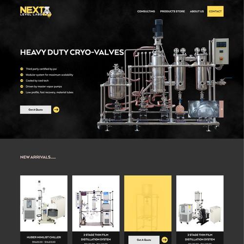 Product focused cannabis equipment web design.