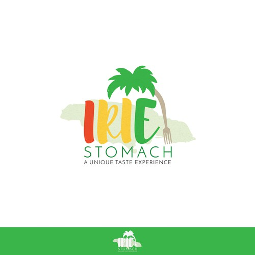 Bright and bold Caribbean food caterer logo design