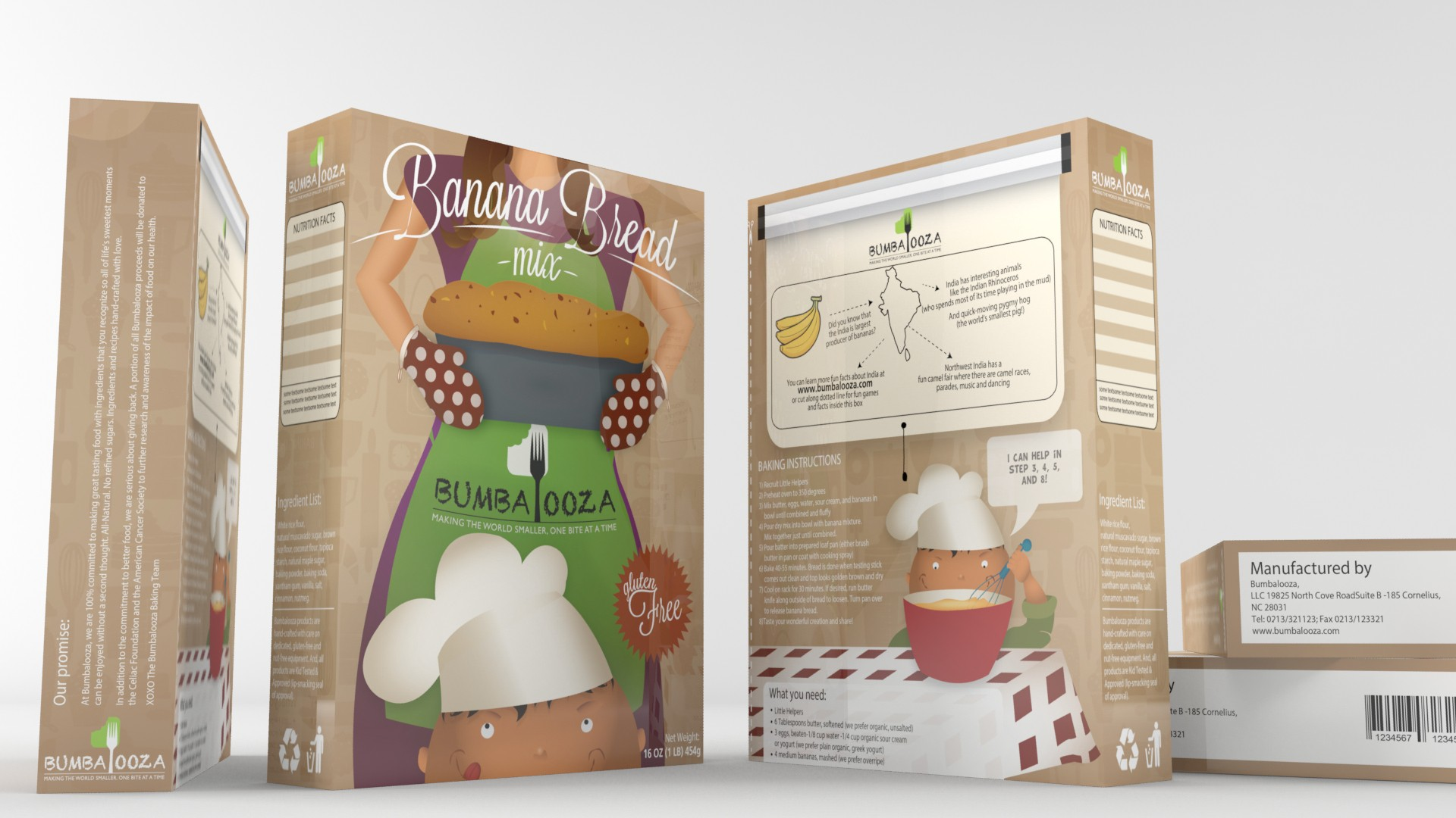 Fun product packaging graphic design needed for new line of kids-focused baking mixes for Bumbalooza