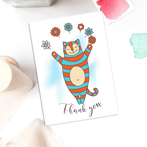 Funny cat thank you card design