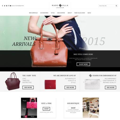 Homepage design for Luxury handbag brand