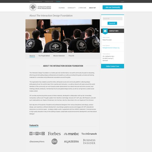 About Page Design for Interaction Design Foundation