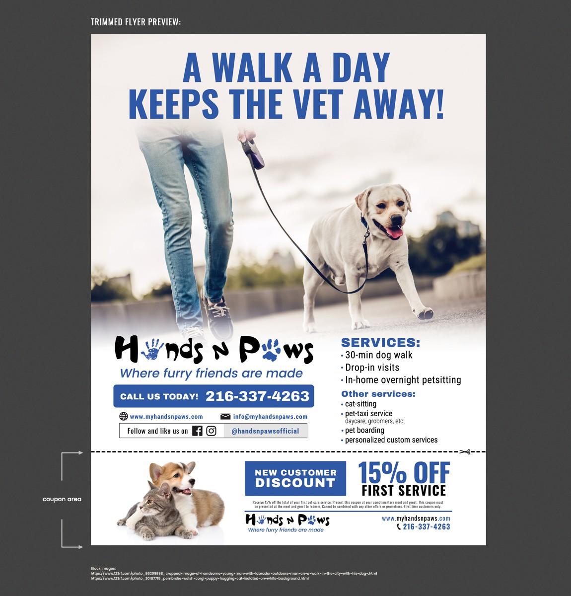 Flyer for a dog-walking/ petsitting company